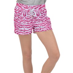 Skin2 White Marble & Pink Marble Women s Velour Lounge Shorts