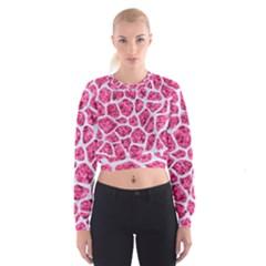 Skin1 White Marble & Pink Marble (r) Cropped Sweatshirt