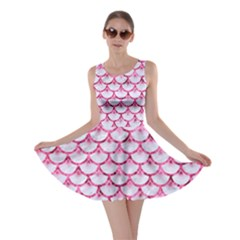 Scales3 White Marble & Pink Marble (r) Skater Dress