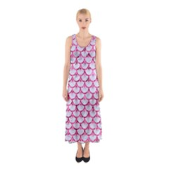 Scales3 White Marble & Pink Marble (r) Sleeveless Maxi Dress
