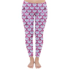 Scales3 White Marble & Pink Marble (r) Classic Winter Leggings