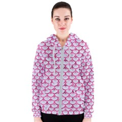 Scales3 White Marble & Pink Marble (r) Women s Zipper Hoodie
