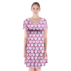 Scales3 White Marble & Pink Marble (r) Short Sleeve V Neck Flare Dress