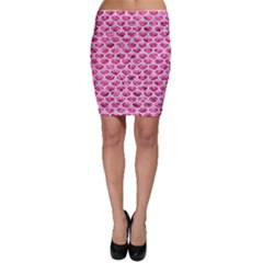 Scales3 White Marble & Pink Marble Bodycon Skirt