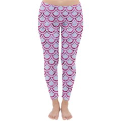 Scales2 White Marble & Pink Marble (r) Classic Winter Leggings