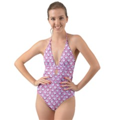 Scales2 White Marble & Pink Marble (r) Halter Cut Out One Piece Swimsuit
