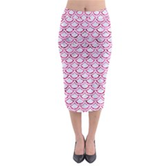 Scales2 White Marble & Pink Marble (r) Midi Pencil Skirt