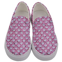 Scales2 White Marble & Pink Marble (r) Men s Canvas Slip Ons