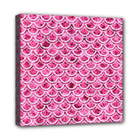Scales2 White Marble & Pink Marble Mini Canvas 8  X 8