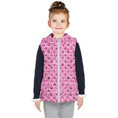 Scales2 White Marble & Pink Marble Kid s Hooded Puffer Vest by trendistuff