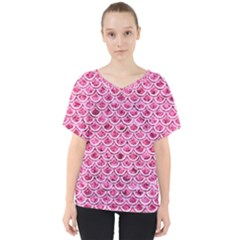 Scales2 White Marble & Pink Marble V Neck Dolman Drape Top