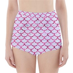 Scales1 White Marble & Pink Marble (r) High Waisted Bikini Bottoms