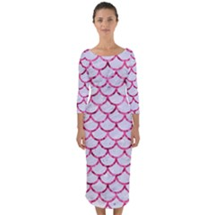 Scales1 White Marble & Pink Marble (r) Quarter Sleeve Midi Bodycon Dress