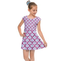 Scales1 White Marble & Pink Marble (r) Kids Cap Sleeve Dress