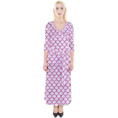 Scales1 White Marble & Pink Marble (r) Quarter Sleeve Wrap Maxi Dress