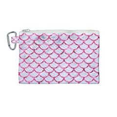 Scales1 White Marble & Pink Marble (r) Canvas Cosmetic Bag (medium) by trendistuff