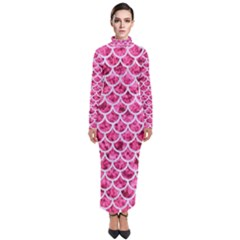 Scales1 White Marble & Pink Marble Turtleneck Maxi Dress