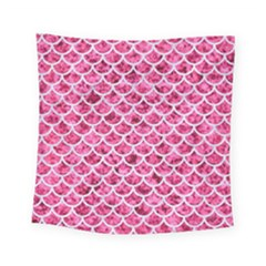 Scales1 White Marble & Pink Marble Square Tapestry (small)