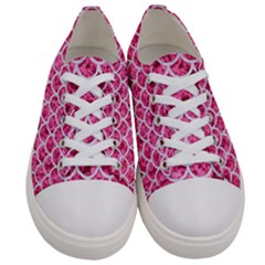 Scales1 White Marble & Pink Marble Women s Low Top Canvas Sneakers