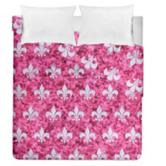 Royal1 White Marble & Pink Marble (r) Duvet Cover Double Side (queen Size) by trendistuff
