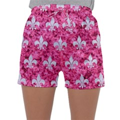 Royal1 White Marble & Pink Marble (r) Sleepwear Shorts