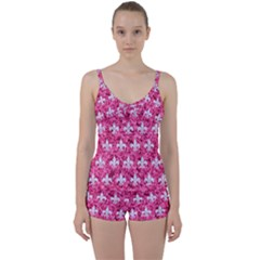Royal1 White Marble & Pink Marble (r) Tie Front Two Piece Tankini