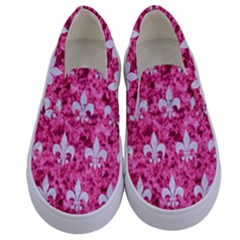 Royal1 White Marble & Pink Marble (r) Kids  Canvas Slip Ons