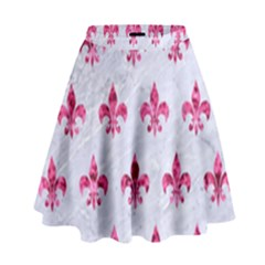 Royal1 White Marble & Pink Marble High Waist Skirt