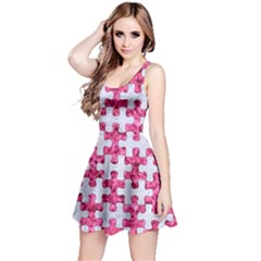 Puzzle1 White Marble & Pink Marble Reversible Sleeveless Dress