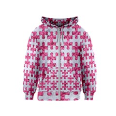 Puzzle1 White Marble & Pink Marble Kids  Zipper Hoodie