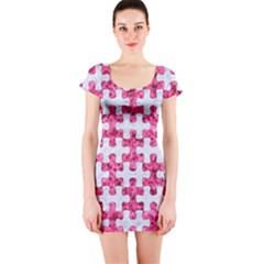 Puzzle1 White Marble & Pink Marble Short Sleeve Bodycon Dress