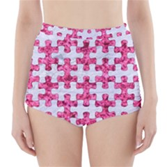 Puzzle1 White Marble & Pink Marble High Waisted Bikini Bottoms