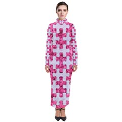Puzzle1 White Marble & Pink Marble Turtleneck Maxi Dress