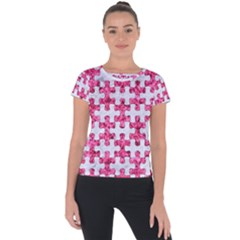 Puzzle1 White Marble & Pink Marble Short Sleeve Sports Top