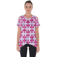 Puzzle1 White Marble & Pink Marble Cut Out Side Drop Tee