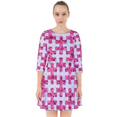 Puzzle1 White Marble & Pink Marble Smock Dress