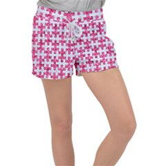 Puzzle1 White Marble & Pink Marble Women s Velour Lounge Shorts