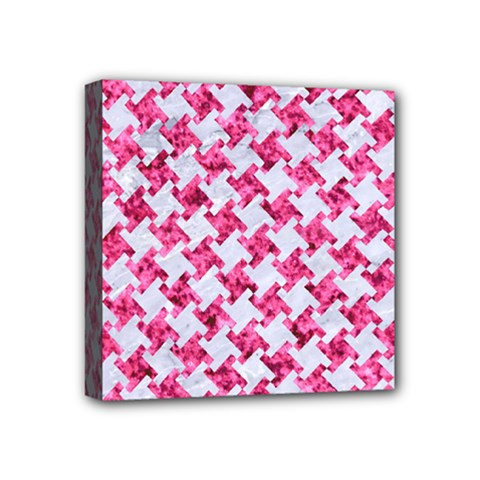 Houndstooth2 White Marble & Pink Marble Mini Canvas 4  X 4