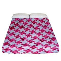Houndstooth2 White Marble & Pink Marble Fitted Sheet (california King Size)