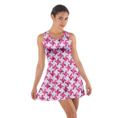 Houndstooth2 White Marble & Pink Marble Cotton Racerback Dress