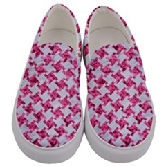 Houndstooth2 White Marble & Pink Marble Men s Canvas Slip Ons
