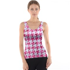 Houndstooth1 White Marble & Pink Marble Tank Top