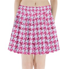 Houndstooth1 White Marble & Pink Marble Pleated Mini Skirt