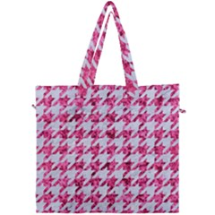 Houndstooth1 White Marble & Pink Marble Canvas Travel Bag