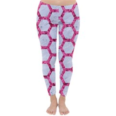 Hexagon2 White Marble & Pink Marble (r) Classic Winter Leggings