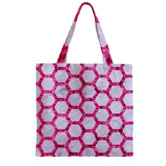 Hexagon2 White Marble & Pink Marble (r) Zipper Grocery Tote Bag
