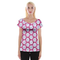 Hexagon2 White Marble & Pink Marble (r) Cap Sleeve Tops