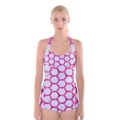 Hexagon2 White Marble & Pink Marble (r) Boyleg Halter Swimsuit