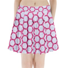 Hexagon2 White Marble & Pink Marble (r) Pleated Mini Skirt
