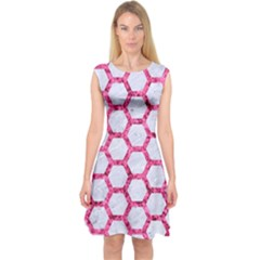 Hexagon2 White Marble & Pink Marble (r) Capsleeve Midi Dress